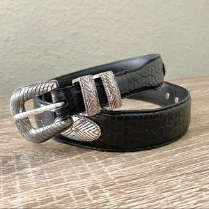FOSSIL Vintage Silver Concho Black Leather Belt 36